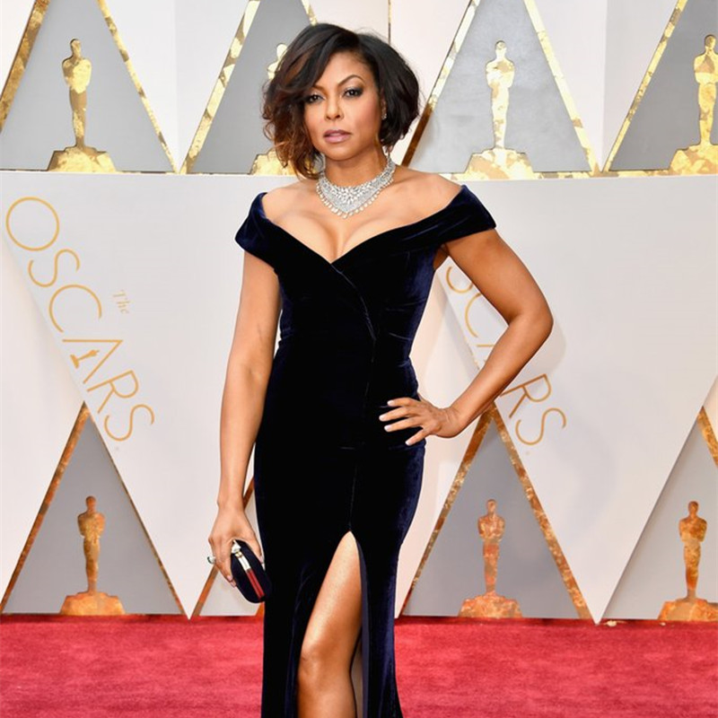 Henson Oscar 2019 Red Carpet Black Velvet Celebrity Dresses The 89th Academy Awards Mermaid Long Celebrity Gown Dress Fast Color Taraji P Celebrity-inspired Dresses