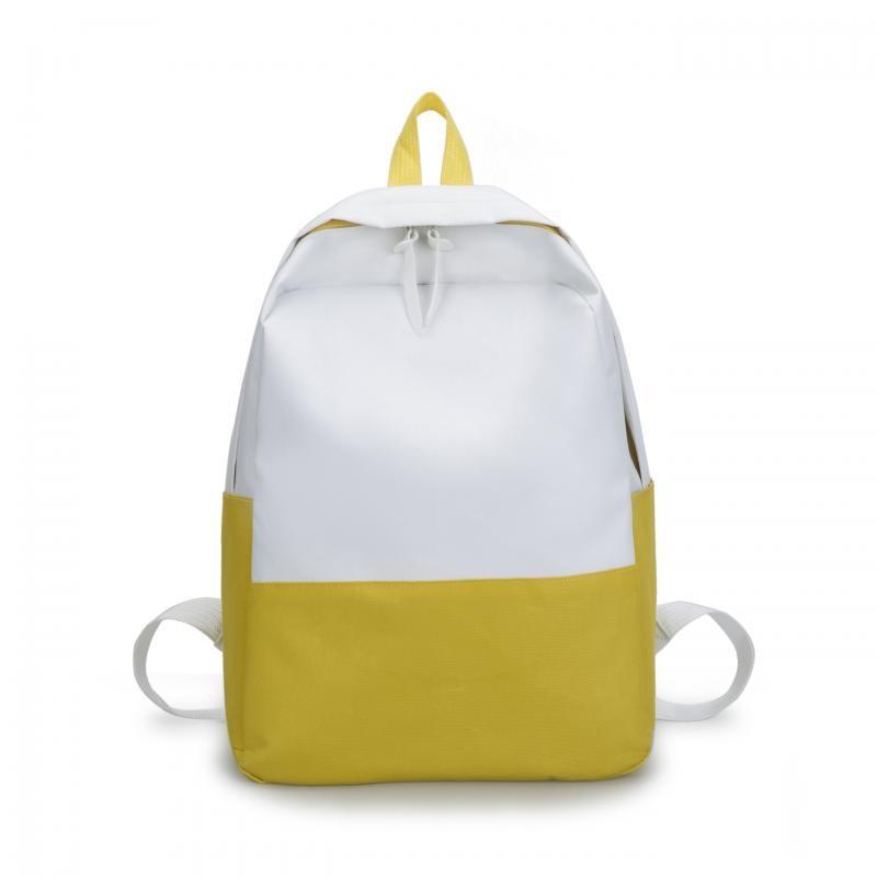 2caddcc88 2018 Modern Patchwork Color Women Men Backpacks Brand Double Zipper Yellow  School Bags Korean Mochia College