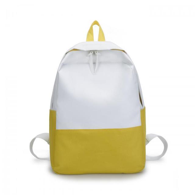 cea32c861f 2018 Modern Patchwork Color Women Men Backpacks Brand Double Zipper Yellow School  Bags Korean Mochia College
