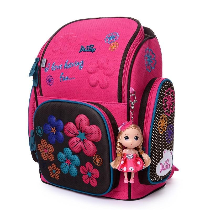 2018 Brand Delune New Girl School Bags 3D Cute Bear Flower Waterproof Orthopedic Backpack Schoolbag Primary Mochila Infantil