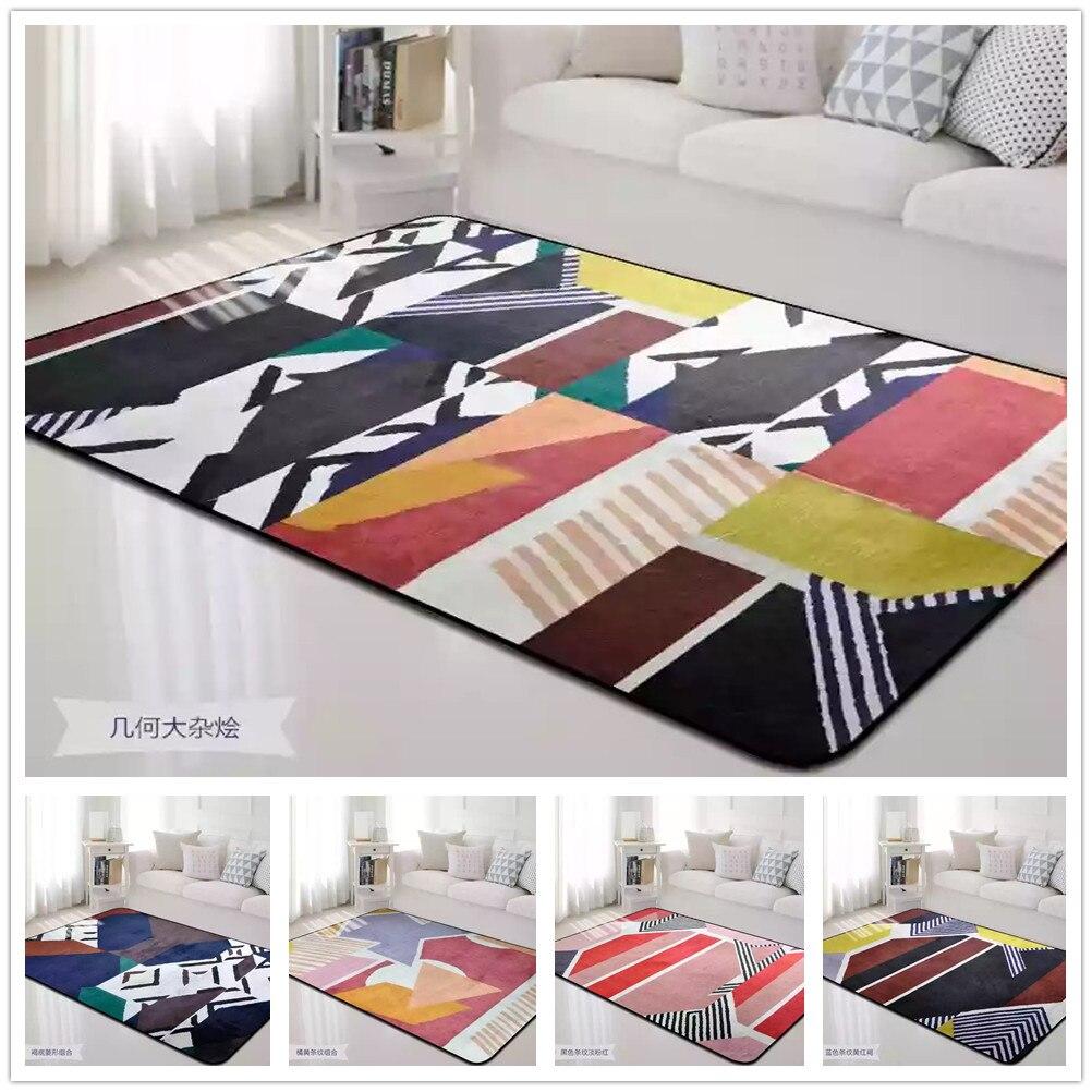 Tapis épissé coloré pour salon flanelle douce tapis de salon moderne Aubusson Design géométrique tapis et tapis chambre