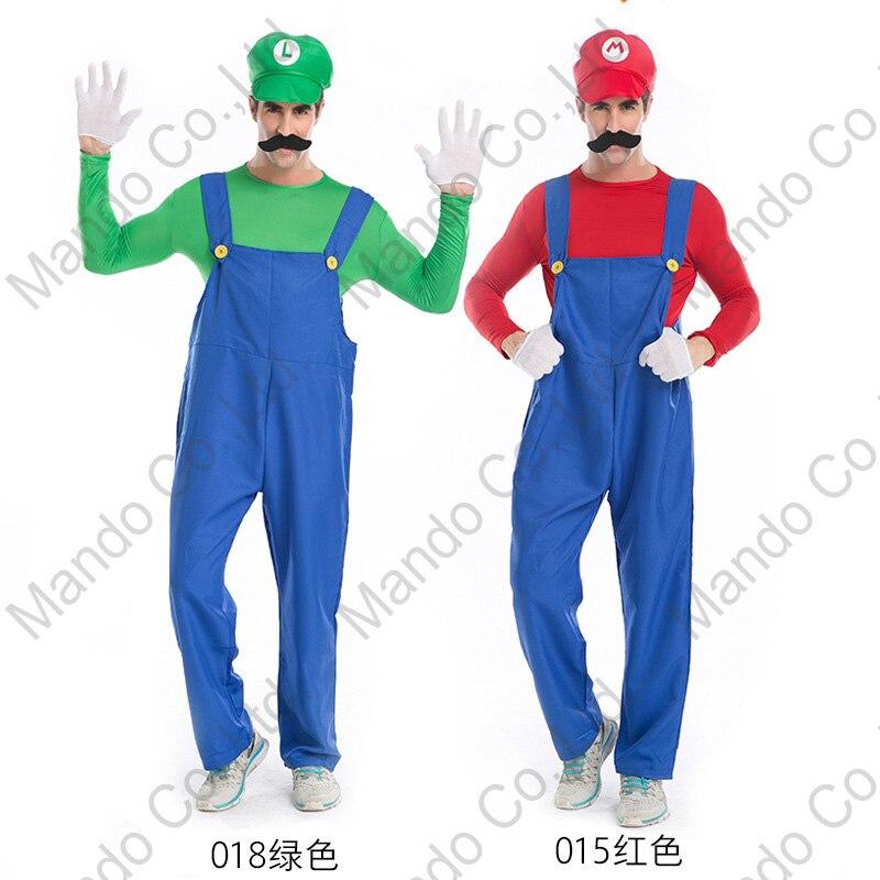 Mens Super Mario Brothers Luigi Cosplay Costume Plumber Fancy Halloween romper Male Masquerade party costume Dress