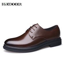 Men Casual Dress Shoes Formal Wedding Leather Shoes Male Business Office Leather Shoes Lace up Men's Flats Oxfords Shoes цена