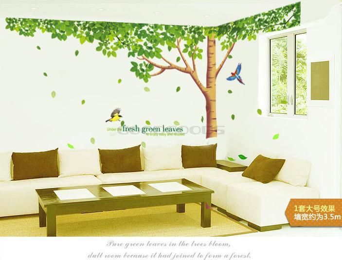 ... New 2014 DIY 3D Wall Sticker Mural Home Art Decor Fresh Green Leaves  Plant Tree TV ...