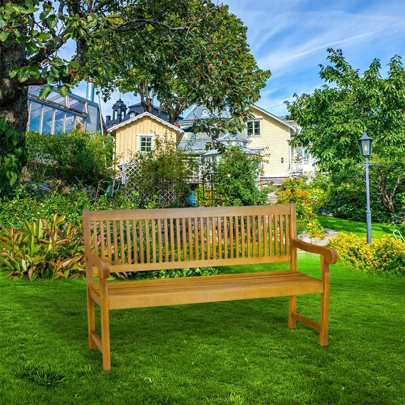 5 Foot Acacia Garden Patio Bench with Arms Outdoor Wooden Garden Furniture HOT SALE 3 seater wooden garden patio bench acacia garden furniture hot sale