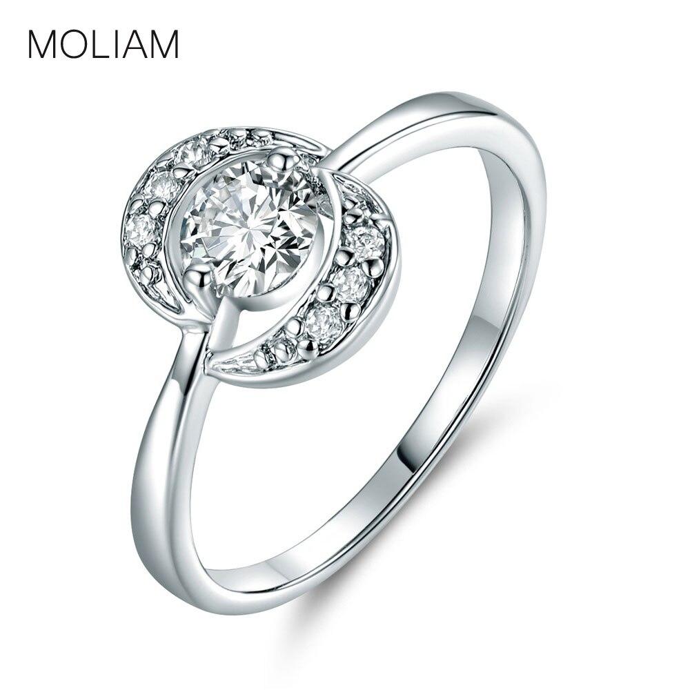 f551629a82b MOLIAM Designer de Moda Anéis para Mulheres Cor Prata Branco Cristais  Cúbicos de Zircônia Anel de Dedo Midi 2017 Jóias MLR055