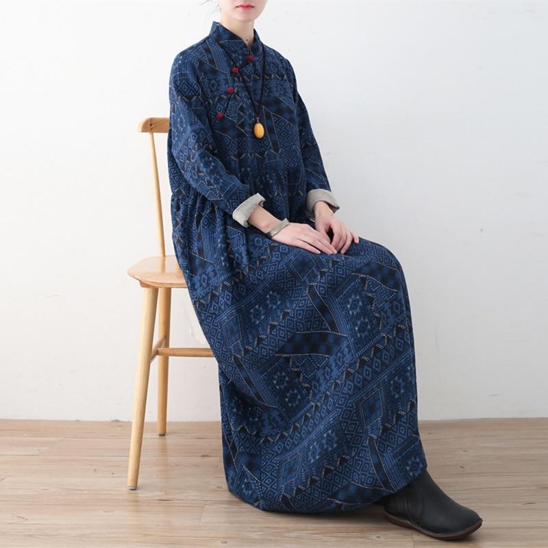 Johnature 2019 printemps femmes coton linge robes nouveau Vintage lâche grande taille imprimé col montant irrégularité robes longues-in Robes from Mode Femme et Accessoires    3