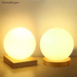 Image 1 - Feimefeiyou 15 سنتيمتر الزجاج بسيط الإبداعية الدافئة باهتة ليلة ضوء مكتب نوم السرير كرة زخرفية خشبية صغيرة مستديرة لمبة مكتب