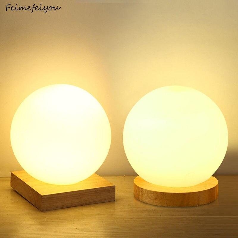 Feimefeiyou 15cm eenvoudige glas creatieve warm dimmer nachtlampje bureau slaapkamer bed decoratie bal houten kleine ronde bureaulamp