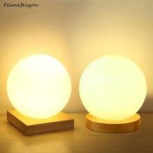 Feimefeiyou lampe à intensité variable créative ronde en verre, boule en bois, luminaire décoratif décoratif, 15cm, idéal pour un bureau ou une chambre à coucher ou un lit