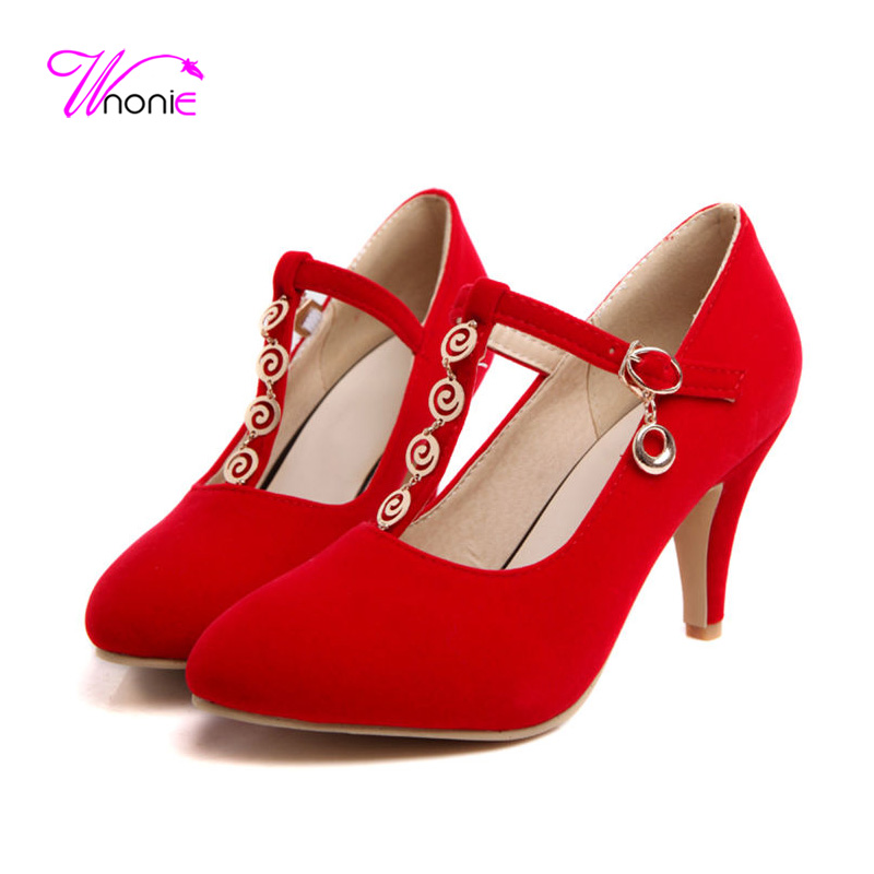ФОТО 2017 Women Pumps T-strap Spike High Heels Round Toe Flock Metal Chain Spring Summer Autumn Sexy Dress Party Wedding Ladies Shoes