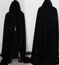 Взрослых ведьмы длинные фиолетовый зеленый красные, черные плащ с капюшоном накидка костюмы на Хэллоуин для wo для мужчин вампира готический страшны