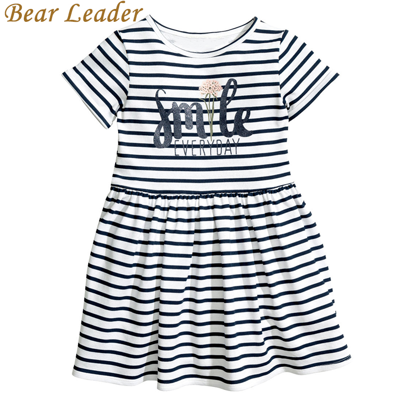 Bear Leader Girls Dresses New Summer 2017 Children Letter Striped O-Neck Style Fashion Girl Dress White Black Kids Clothes женское платье summer dress 2015cute o women dress