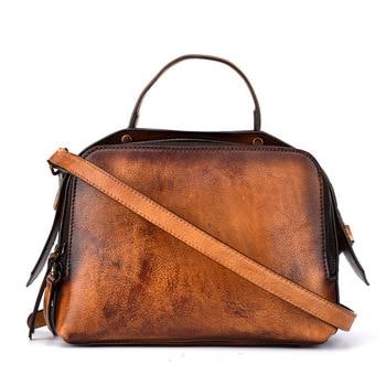 brand 2019 vintage casual women genuine leather small package female simple handbags ladies shoulder messenger crossbody bag
