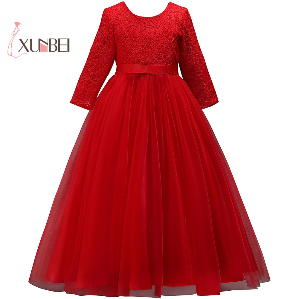 Pretty Princess Lace Floor Length   Flower     Girl     Dresses   2019 Long Sleeves Long Gown For   Girls   Prom   Dresses   Communion   Dresses