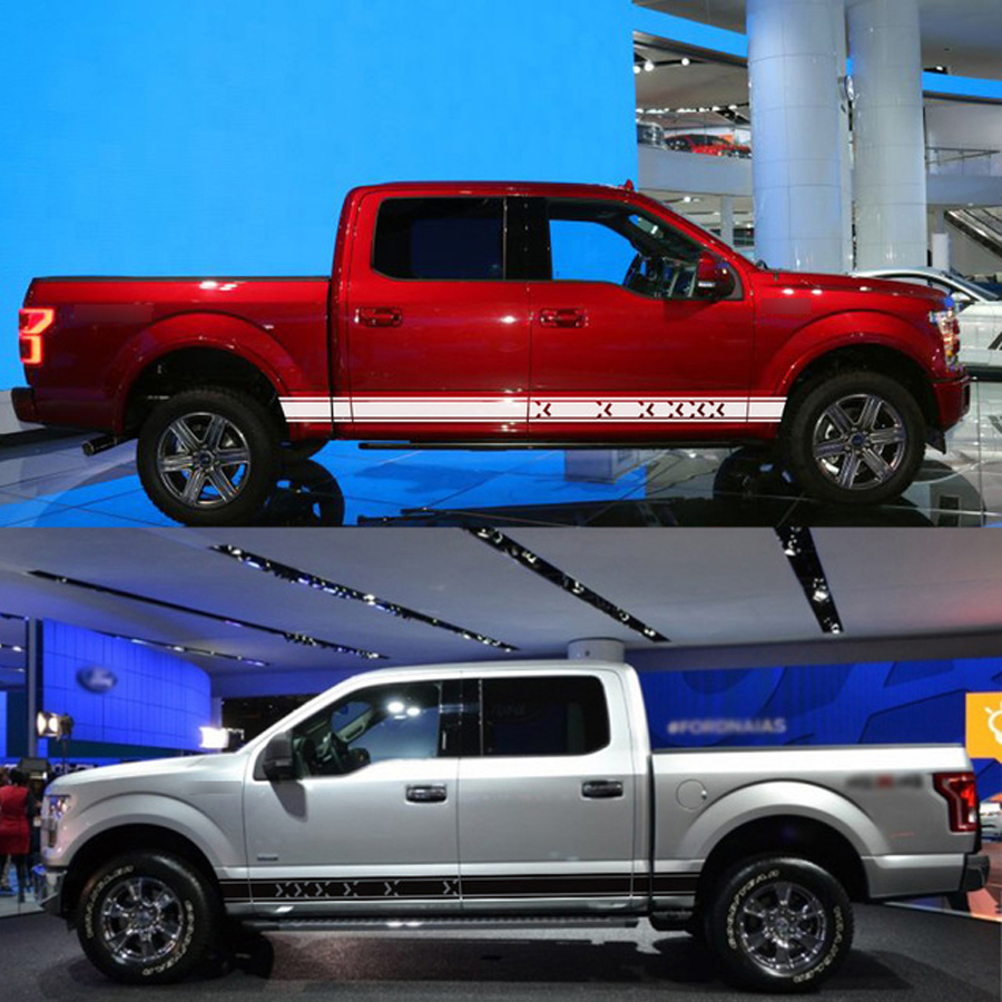 free shipping 2 PC side door personality emoticon stripe graphic Vinyl sticker for ford f150 super crew 5 1 2 box or raptor in Car Stickers from Automobiles Motorcycles
