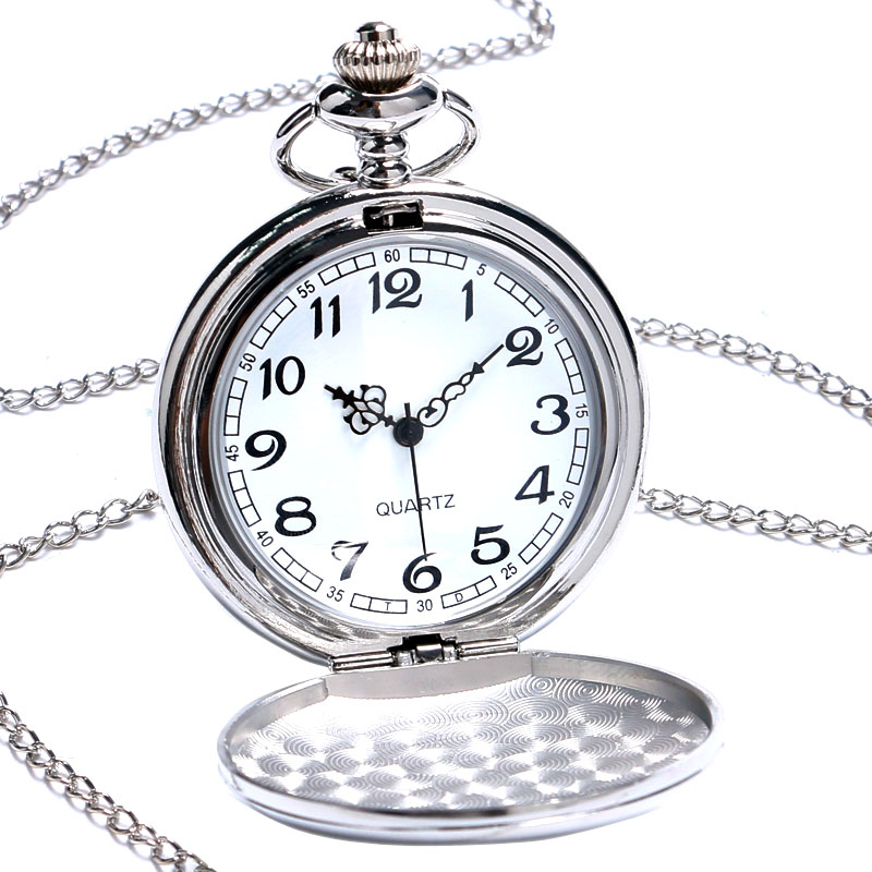 2019 New Arrival Silver Smooth Quartz Pocket Watches Men Women Fashion Thick Chain Retro Necklace Fob Watch For Gift