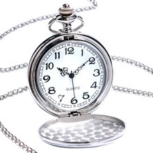 2016 New Arrival Silver Smooth Quartz Pocket Watch With Short Chain Best Gift To Men Women цена 2017