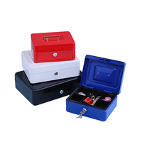 Mini Petty Cash Stainless Steel Security Lock Money Box Portable Security Box 6 Compartments Coin Cute
