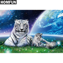 HOMFUN Full Square/Round Drill 5D DIY Diamond Painting Tiger family Embroidery Cross Stitch Home Decor Gift A01226