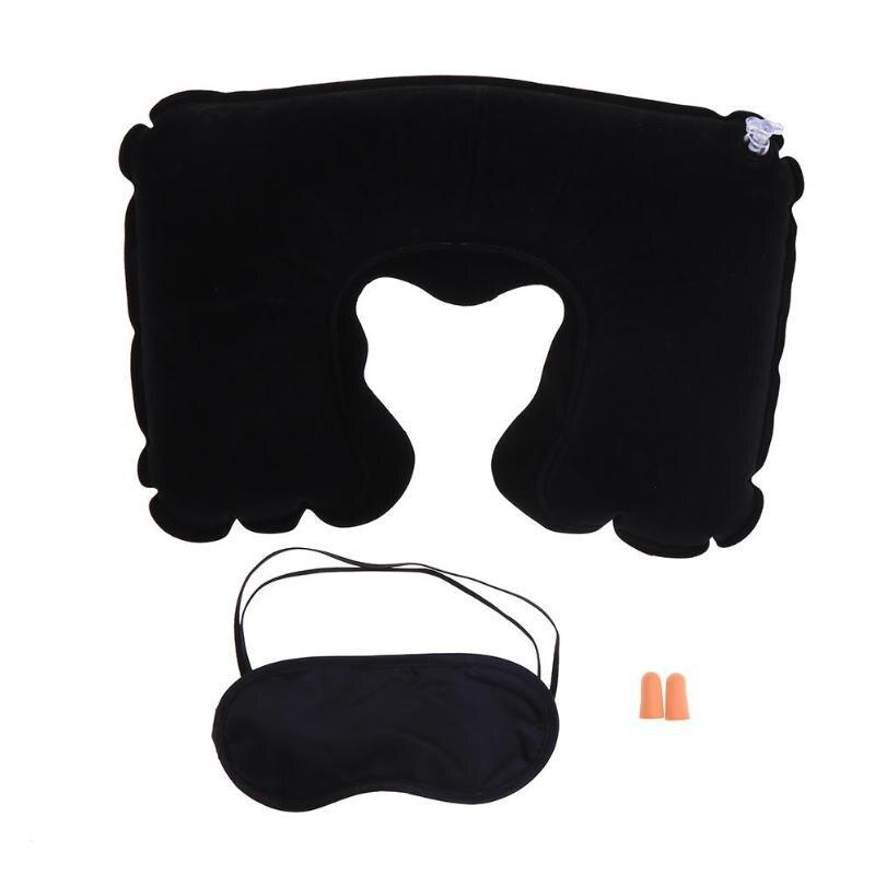 3psc/набор, новая u-образная подушка для шеи, для путешествий, автомобиля, для воздушного полета, надувные подушки, поддержка шеи, подголовник, подушка с крышкой для глаз, беруши - Цвет: Black