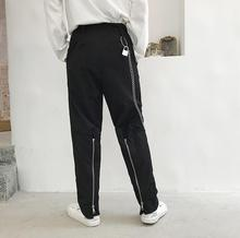 Street personality fashion harem pants mens casual trousers pantalones hombre Split zipper for men pantalon homme black