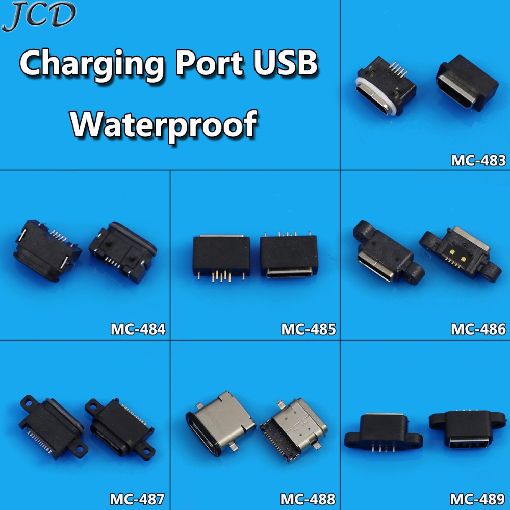JCD 1pcs Waterproof Micro USB Type C Connector Female Charge Charging Dock port Plug Type-C USB 2.0 Socket jack image