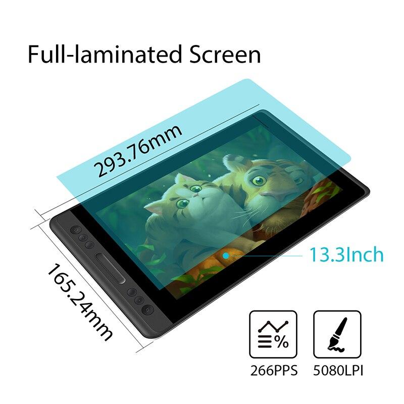 HUION Kamvas Pro 13 GT-133 Support d'inclinaison stylo sans batterie dessin graphique tablette écran d'affichage avec touches Express et barre tactile - 5