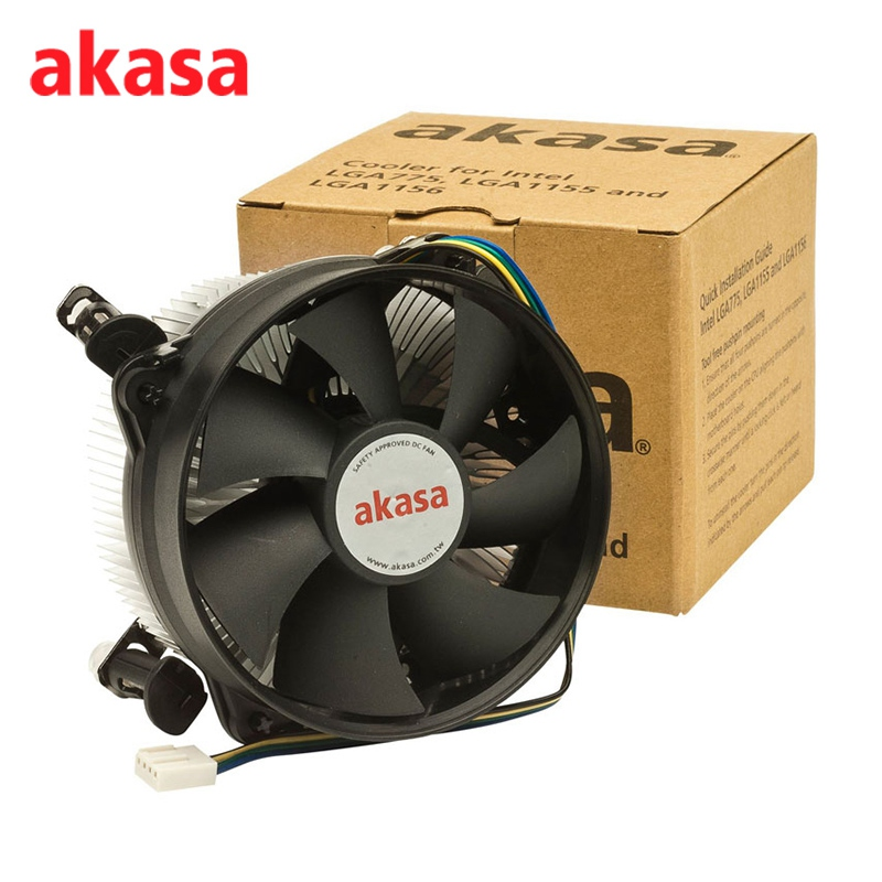 Akasa 94.8mm Aluminum PC CPU Cooling Fan Cooler 4Pin CPU Fan Double Platform Processor Cooler Heatsink For Intel LGA775 LGA115X new pc cpu cooling fan cooler heatsink for intel lga775 am2 am3 754 939 940 c77 dropship