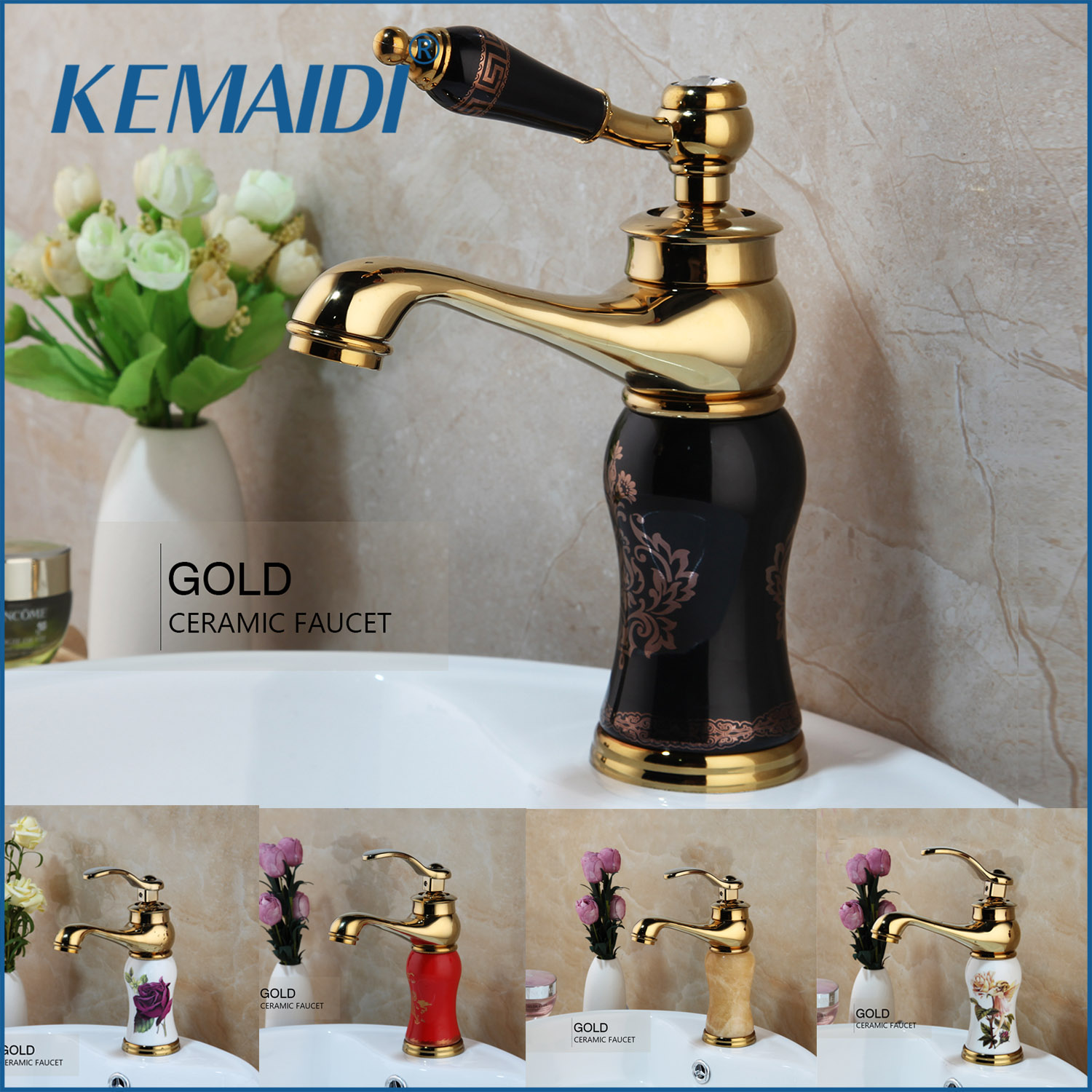 KEMAIDI Gold Polished Counter Top Bathroom Faucet Wash Basin Tap Swivel Single Handle Hot and Cold