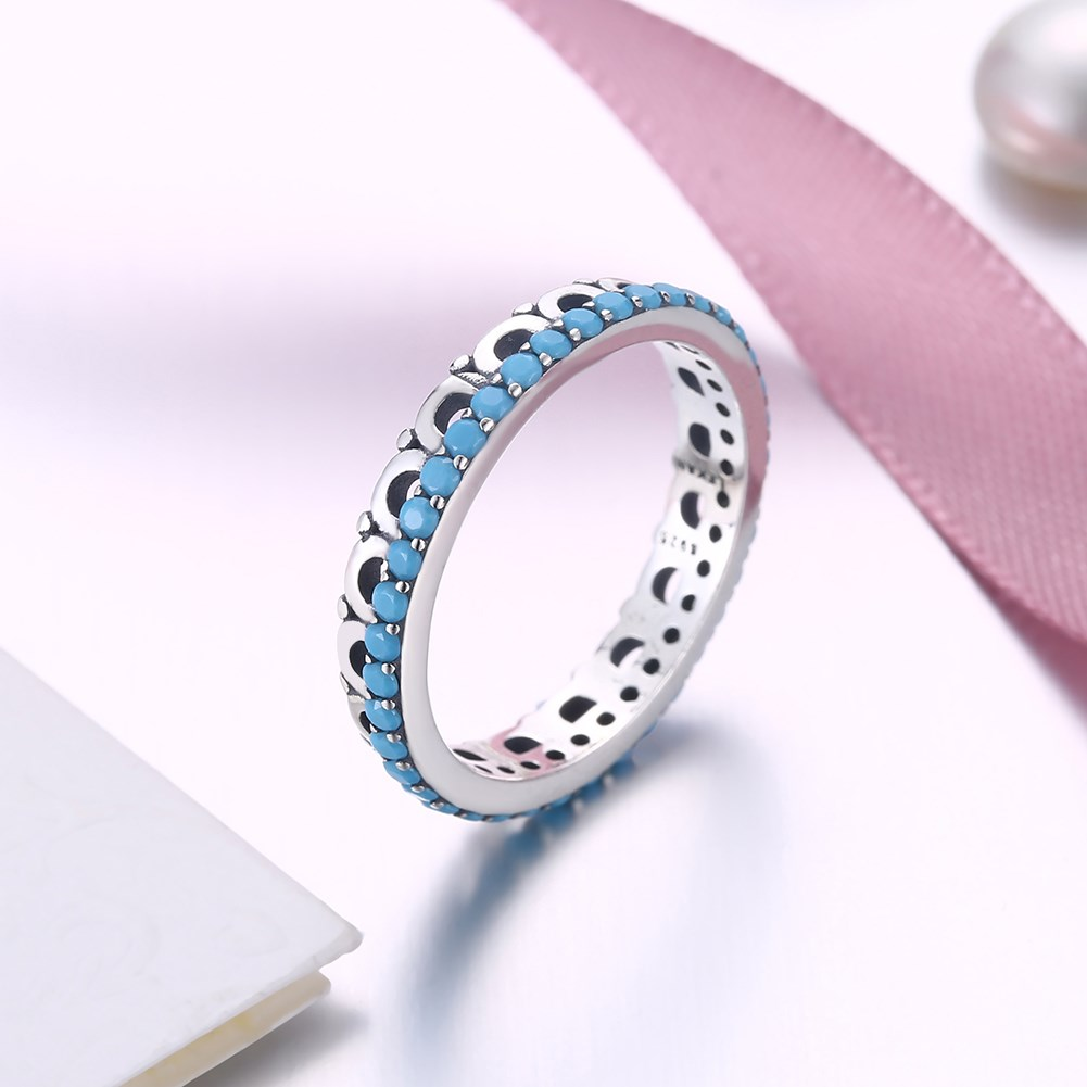Hot Sale New Real 925 Sterling Silver Turquoise Finger Ring Vintage Fine Party Jewelry Ladies Jewelry Gifts