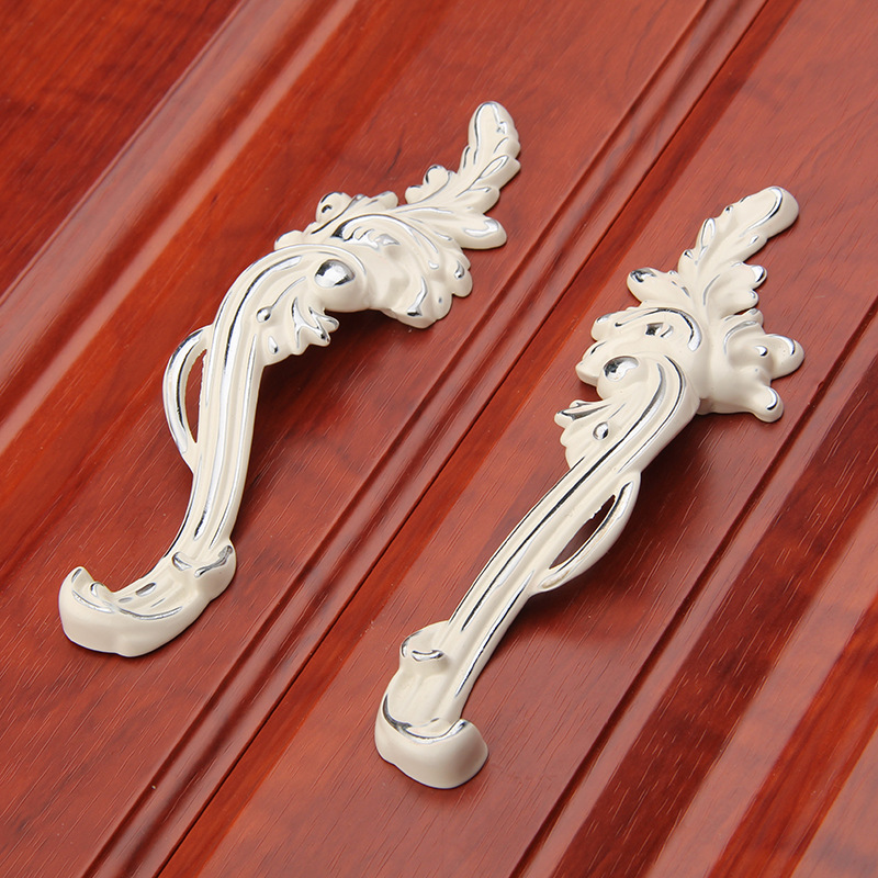 One Pair European Silver Ivory White Handle Cupboard Door Drawer Cabinet Handles Knobs Kitchen Cabinet pulls 2017 free shipping european kitchen handle ivory white drawer wardrobe door handles modern simple hardware wine cabinet pulls