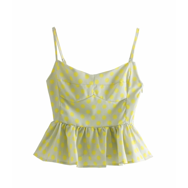 2019 New Women Fashion Polka Dot Print Casual Sling Blouse Shirts Women Hem Pleat Ruffles Blusas Chic Chemise Tops LS3785