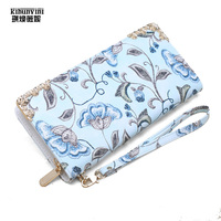 Leather Wallet Women Floral Printed Long Wallets For Ladies Money Bag Zipper Purses High Quality Carteira Female Wallet Case