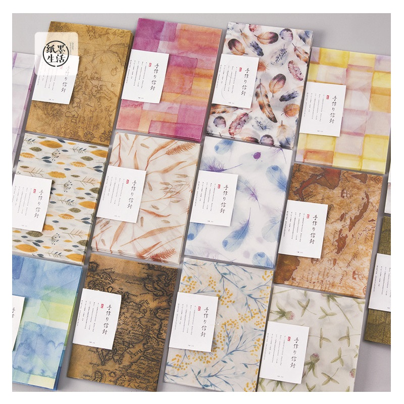 3 Envelopes & Sealing Stickers/Pack Retro Map Flower Series Parchment Paper Envelope Gift Korean Stationery