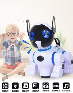 Edukacja elektryczne RC Robot pies inteligentny RC Robot pies taniec/muzyka pilot zdalnego sterowania Robot Kid Zabawka edukacyjna's postawy polityczne w spacerem dinozaur