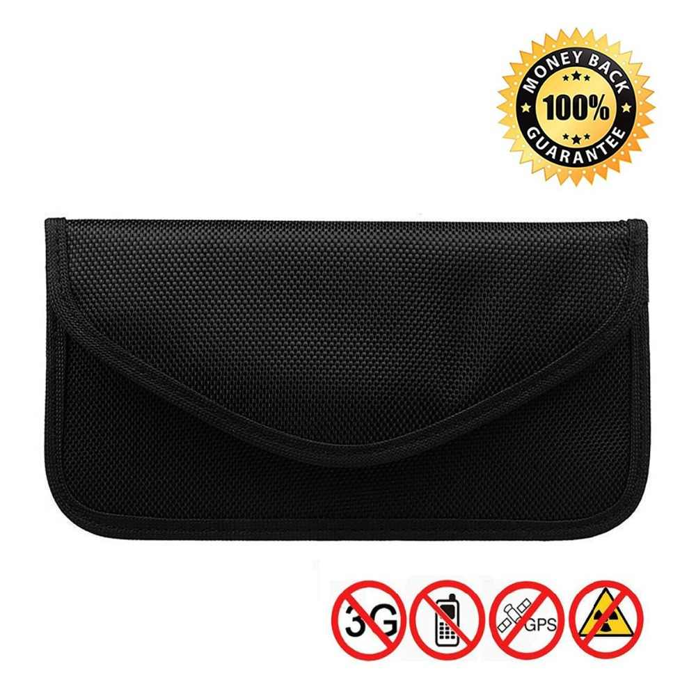Anti-Tracking Anti-Spying Black 2 Pack RFID Signal Blocking Bag Shielding Pouch Wallet Case for Cell Phone Privacy Protection and Car Key FOB Faraday Bag