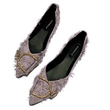 flat women shoes 2018 New pointed single shoes flat-soled boat shoes autumn ladies shoes luxury designers loafers Pointed Toe free shipping small size 2018 autumn imitation rabbit fur shoes tassel women s shoes flat single shoes pointed and velvet