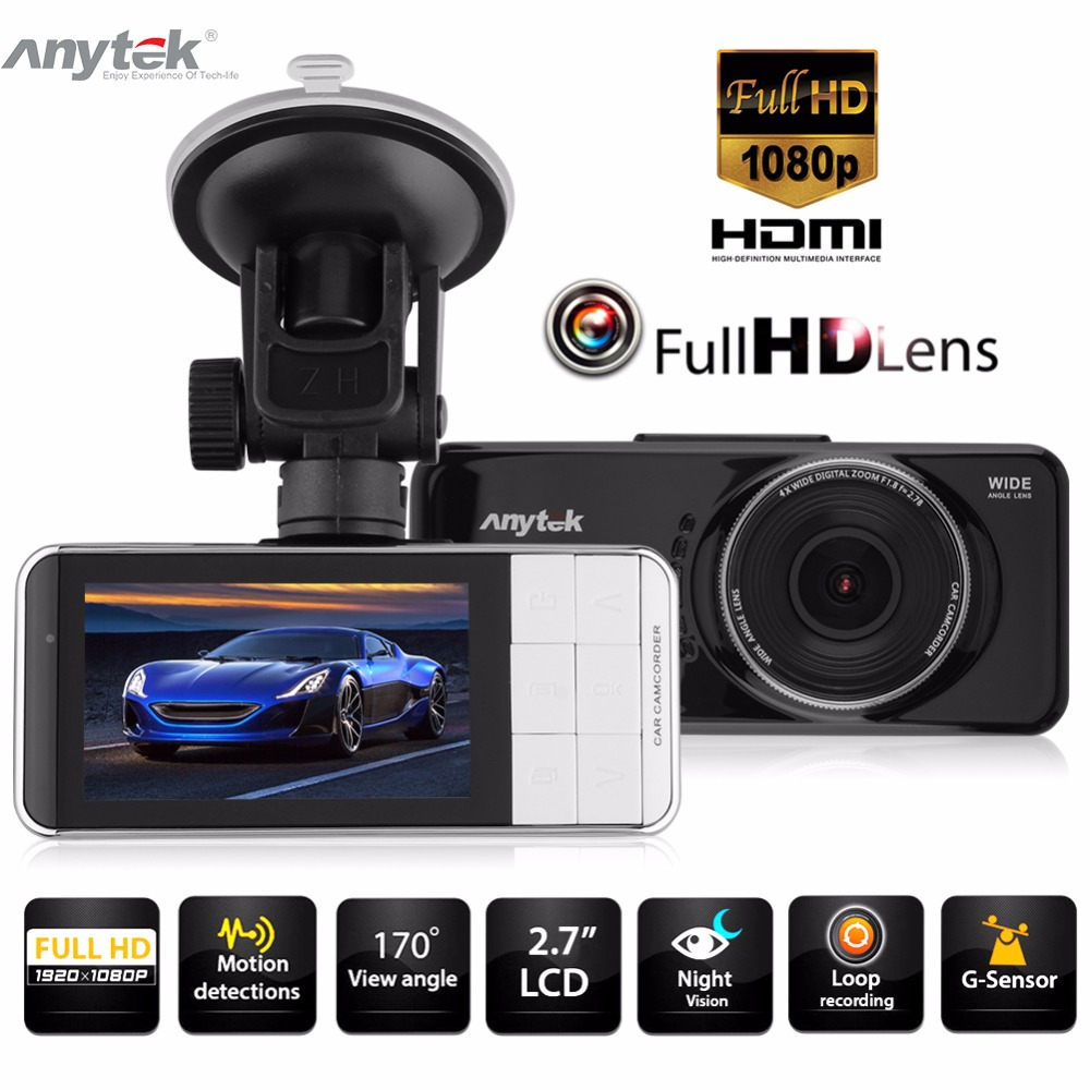 Anytek AT66 2.7 Inch Car DVR Camera Full HD 1080P 170 Degree Lens Video Recorder WDR Dash Cam Driving Recording Car Detector цена
