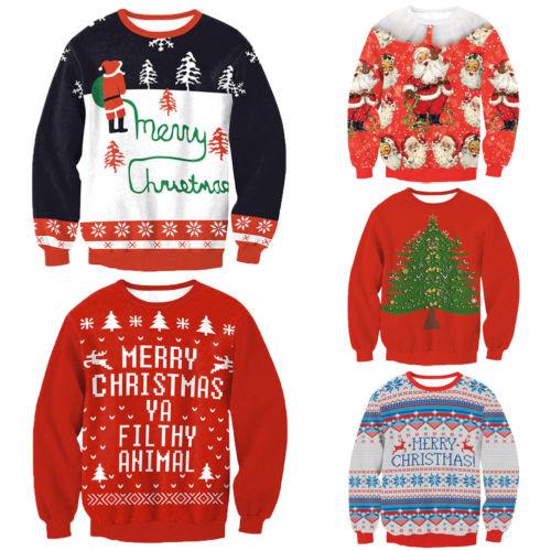Christmas Sweatershirt Men Women Santa Xmas Christmas Novelty Ugly Warm Sweater Female Tops Clothes New Arrival Stylish Unisex