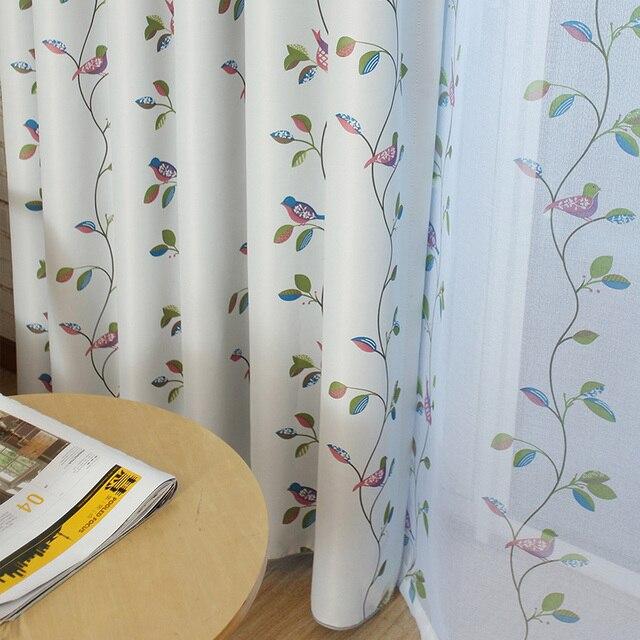 Rideaux Oiseaux oiseaux et feuilles blackout rideaux pour salon chambre décor À la