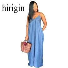 4ac69e8317 Hirigin 2018 de señora Boho Backless largo verano Denim vestido Maxi mujeres  Jean Vestidos sueltos Vestidos sin tirantes S-XXXL