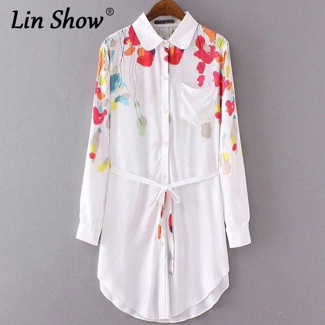 4c6973d42efb LINSHOW Floral Print Women Mini Dress Summer Long Sleeve Lapel Cotton  Ladies Shirts Dress Pockets Belt Sheath Button Dress