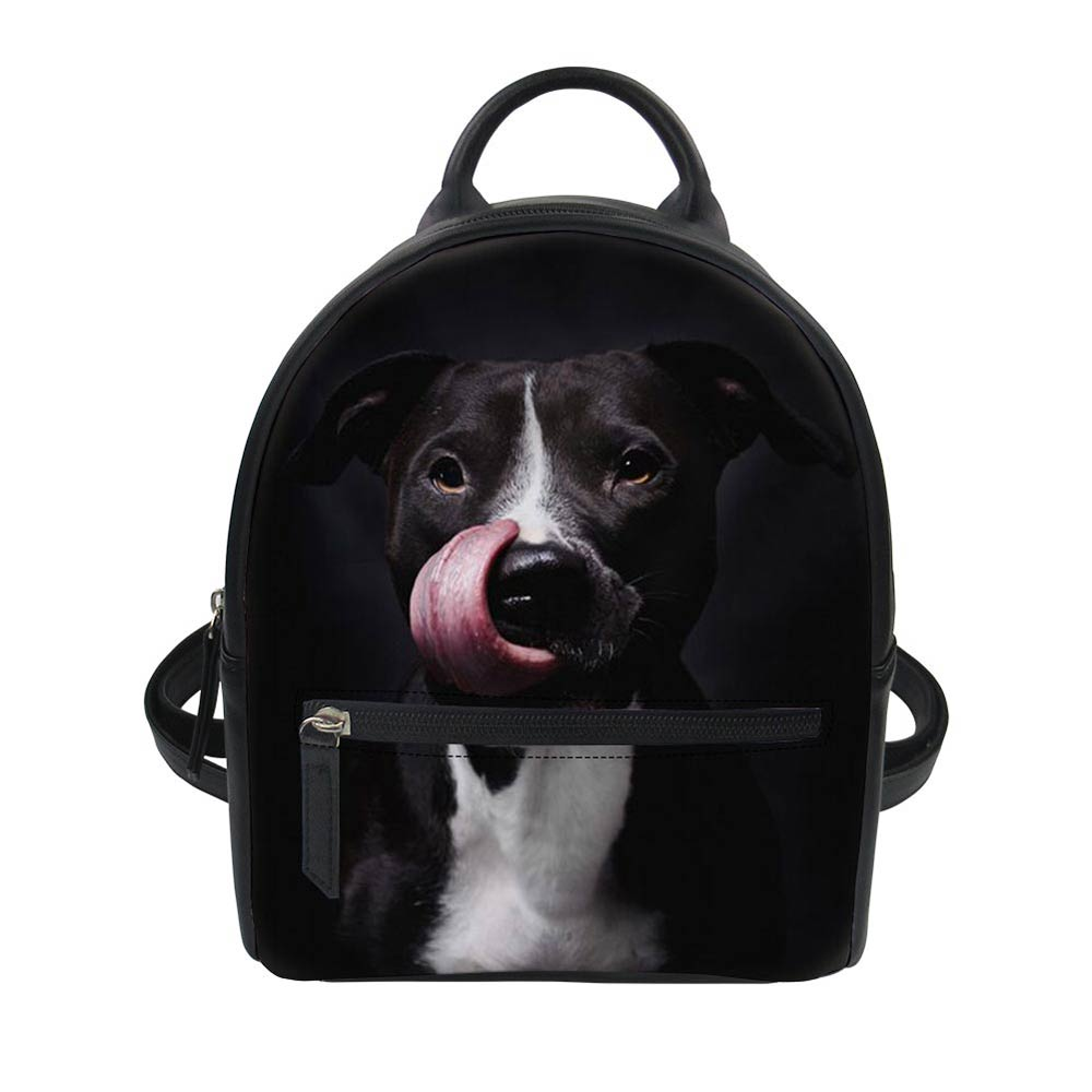 American Staffordshire Terrier Dog Lover Women Backpack PU Leather Men School Bag For Girls Small Schoolbag Students Book Bags
