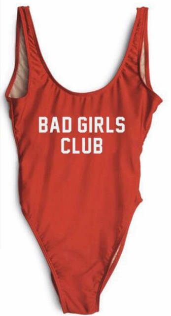d16557d9d9 OKOUFEN Bad Girls Club Squad Swimsuit One Piece Beachwear Funny Letter  print Sexy Jumpsuits Bathing Suits Women