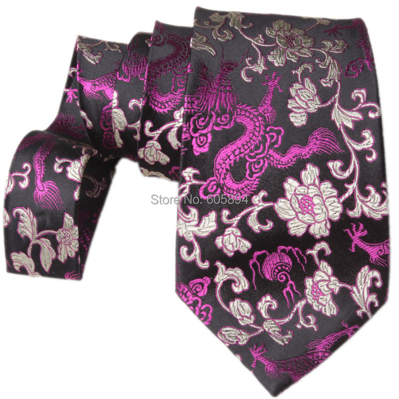Unique gorgeous Ethnic Dragon Ties High Quality Chinese style Natural Real Silk brocade Men's standard Fashion Neckties Gifts