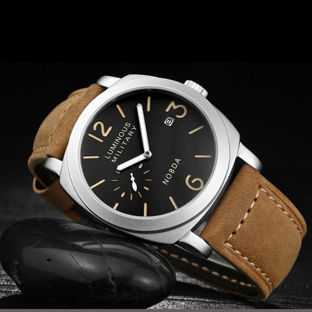 b59cdb9f330 Relógio dos Homens com Pulseira Militar do Exército Nobda Luxo Marca Men  Sports Relógios Quartz Hour Data Homem de Couro Grande Relógio Reloj Hombre  ...
