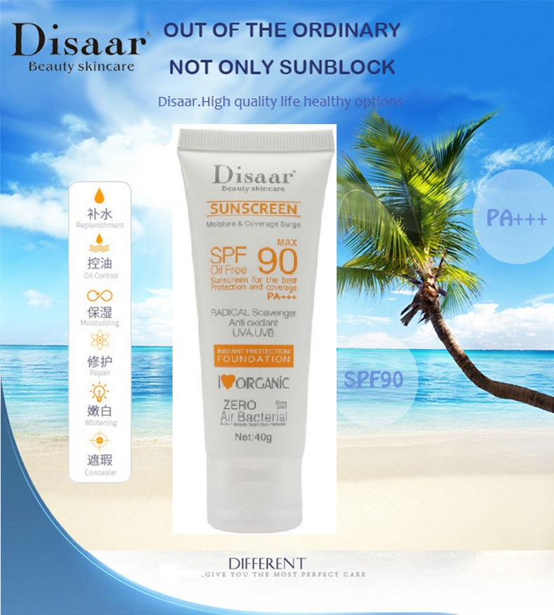 Disaar Beauty waterproof  Skin Care Facial Sunscreen Cream Spf Max 90 Oil Free Radical Scavenger Anti Oxidant UVA/UVB 40g