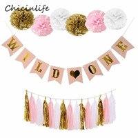 Chicinlife 1 set Rosa Selvaggio Un Banner Tessuto di Carta Ghirlanda Pompon di Un Anno di Età Birthday Party Decoration Forniture Baby Shower