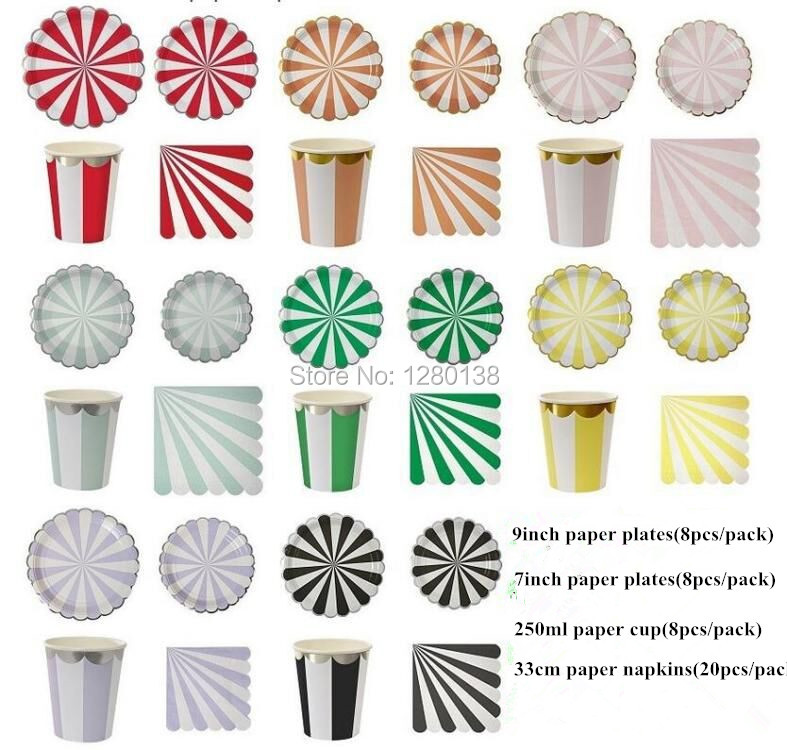 More Colors Striped Party Disposable Tableware Gold Silver Foil Edge Paper Plates Napkins And Cups